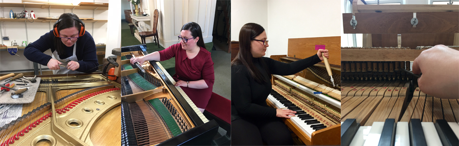 photos of Rachael tuning Pianos