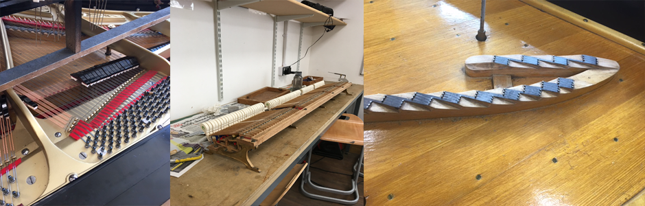 photos of Rachael working on Pianos